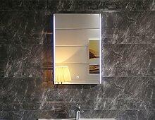 Dr. Fleischmann Badezimmerspiegel Badspiegel Wandspiegel LED beleuchtet GS112 mit Touch-Schalter kaltweiß IP44 (50 x 70cm)