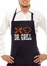 DR. GRILL - Zweifarbig - Grillschürze Schwarz / Orange-Weiss