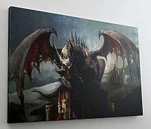 Drache Burg Fantasy Dragon Schloss Leinwand Bild