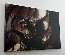 Drache Dragon Fantasy Feuer Leinwand Bild Wandbild