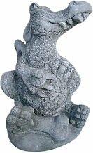 Drache mit Knochen, Figur aus Steinguss, Frostfes