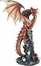 Drachen-Figur Fauchender Drache auf Felsgestein