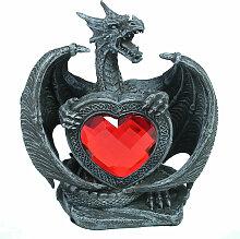 Drachen-Figur mit rotem Herz Dekofigur Fauchender