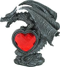Drachen-Figur mit rotem Herz Dekofigur Prächtiger