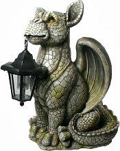 Drachen Gartenfigur mit Solarlaterne Drachenkind