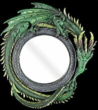 Drachen Spiegel rund - Wandspiegel grün