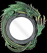 Drachen Spiegel rund - Wandspiegel grün Drachenspiegel Gothic Fantasy Figur