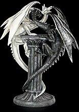 Drachenfigur - Darkwhite auf Säule - schwarz und