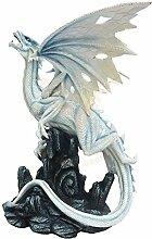 Drachenfigur groß weiß-blau - Auctoritas auf