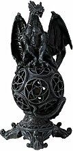 Drachenlampe Drache auf Kugel Tischlampe Zimmerlampe Mystik Gothic Fantasy Dekoration Wohnung