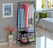 Dragonmys UK- Einfache Garderobe, erschwinglicher Schlafzimmerhauptkleiderständer, Bodenaufhänger, einfacher einzelner Stangenzahnstange (Farbe : Schwarz)