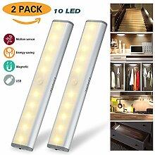Drahtloser Bewegungs-Sensor-Kabinett-Licht-Kleiderschrank-Licht, USB-nachladbares 10 LED-Metallaluminiumschale, eingebauter Magnet, entfernbarer Stock-auf irgendwo / Kleiderschrank / Treppen (warmes weißes Licht-Silber) 2 Satz