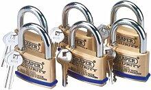Draper 67663 Vorhängeschloss mit Schlüssel, Massivmessing, 60mm, 6Stück