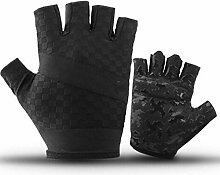 draussen Reiten männlich Halber Finger Atmungsaktiv Sonnenschutz Rutschfest Dämpfung handschuhe , M