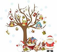 Drawihi Kreative Weihnachtsmann und Baum Wandaufkleber Abnehmbare Kinderzimmer wohnzimmer Dekorative Tapete Wasserdicht PVC Wandaufkleber wohnaccessoires
