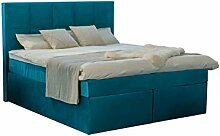 Dream Boxspringbett 200x200 cm Velour Petrol-Blau