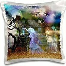 Dream Essence Designs Halloween - A spooky collage of an old haunted house, ghost, graveyard, black cat and more - 16x16 inch Pillow Case