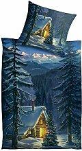 Dream Plüsch Bettwäsche Winterblick Blau