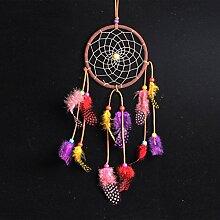 Dreamcatcher Regenbogen, bunter Traumfänger Federn Bead Handgemachte Dekoration Wand Hängend Ø 13cm