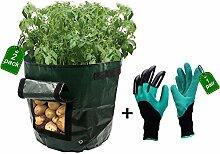 dreamerd 2er Pack 7Gallonen Pflanzen Grow Staubbeutel/Tasche/Kartoffel Pflanzgefäß Garten Staubbeutel mit Garten Graben Handschuhe