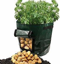 Dreamerd Pflanztaschen, 2er-Pack, 7Liter, Pflanztaschen mit Belüftung, Stofftaschen, Kartoffelpflanztaschen mit Lasche, für Gemüse, Kartoffeln, Karotten und Zwiebeln.