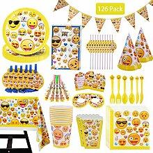 DreamJing 126 Teile Pappgeschirr Emoji Party Set