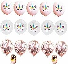 DreamJing Einhorn Luftballons 12 zoll Roségold &
