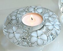 Dreamlight Kerzenhalter Teelichthalter rund mit Blümchenmuster und Strass, 5x13 cm