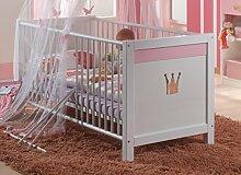 Dreams4Home Babybett 'Princess', Baby Bett, 70 x 140, Babyzimmer, Kinderzimmer, Kinderbett, Bettseiten, Ausführung:ohne Bettseiten