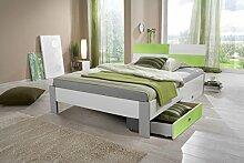 Dreams4Home Bett 'Rainbow', Jugendbett, Kinderzimmer, Kinderbett, 90 x 200, 140 x 200, Ahorn, weiß, Liegefläche:90x200 mit Bettk.;Farbe:Alpinweiß. Abs. grün