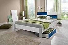 Dreams4Home Bett 'Rainbow', Jugendbett, Kinderzimmer, Kinderbett, 90 x 200, 140 x 200, Ahorn, weiß, Liegefläche:140x200 cm;Farbe:Alpinweiß. Abs. blau