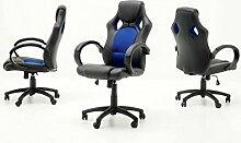 Dreams4Home Chefsessel 'Axel' - Racer Optik, Bürostuhl, Stuhl, Bürosessel, Arbeitsstuhl, Drehstuhl, rollbar, stufenlos höhenverstellbar, mit Wippfunktion, B/T/H:60x68x117-127cm, schwarz/blau, schwarz/rot, schwarz/grün, schwarz, max. 100 kg, Farbe:schwarz / blau