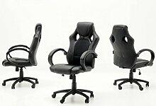 Dreams4Home Chefsessel 'Axel' - Racer Optik, Bürostuhl, Stuhl, Bürosessel, Arbeitsstuhl, Drehstuhl, rollbar, stufenlos höhenverstellbar, mit Wippfunktion, B/T/H:60x68x117-127cm, schwarz/blau, schwarz/rot, schwarz/grün, schwarz, max. 100 kg, Farbe:Schwarz