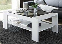 Dreams4Home Couchtisch 'Lunis' - Tisch, Beistelltisch, Sofatisch, Ablagetisch, Wohnzimmertisch, mit grauer Glasplatte, B/H/T: 118 x 44 x 73 cm,Wohnzimmer, in hochglanz weiß