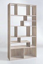 Dreams4Home Design Regal 'Lissabon' weiß Sonoma Eiche Sägerau 90 x 179 x 32,5 cm Raumteiler Holz Bücherregal, Farbe:Weiß