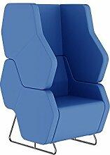 Dreams4Home Designstuhl Maja Loungesessel Sessel Design Loungestuhl Loungemöbel Cafestuhl schalldicht modern, blau