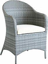 Dreams4Home Dinning Sessel 'Arun' - Sessel, Loungesessel, inklusive Sitzkissen, Gartensessel, Gartenstuhl, Gartenmöbel, Stuhl, B/H/T: 65 x 93 x 65 cm, Rattan, hochwertiges HDPE Geflecht - in hellgrau