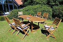 Dreams4Home Gartenmöbelset 'Madison', Loungemöbel, Gartenmöbel, Stühle, Gartensessel, Relaxsessel, Gartenbank, Gartenstühle, Holz, 6 Klappsessel, 1 Tisch, Garten, in Akazie