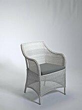 Dreams4Home Gartensessel 'Barcelona' weiß braun Gartenstuhl Sessel Gartenmöbel , Farbe:Weiß