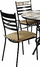 Dreams4Home Gartensessel 'Luke' - Sessel, Loungesessel, inklusive Sitzkissen, Gartenstuhl, Gartenmöbel, Stuhl, B/H/T: 55,5 x 92 x 53 cm, Keramik Mosaik im Rücken, Stahlgestell, zweifach beschichtet, wetterbeständig, frostbeständig, schw