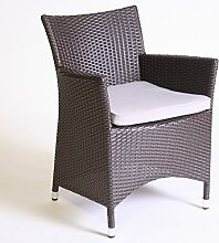 Dreams4Home Gartensessel Rattan 'Dafne' braun beige Gartenstuhl Stuhl inkl. Polster , Farbe:Braun