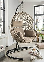 Dreams4Home Hängesessel 'Dorla' - Sessel, mit Gestell, Flachgeflecht beige / grau, mit Polster in beige, Gestell: 191 x 120 x 100 cm, Korb: 113 x 104 x 81 cm, Gartenmöbel
