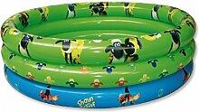 Dreams4Home Jumbo Pool 'Shaun das Schaf' - Pool, Kinderpool, Schwimmbecken, Planschbecken, phtalatfrei, mit Shaun das Schaf Logo, ø 150 cm und ø 170 cm, Höhe ca. 35 cm, Garten, Camping, Balkon, Terrasse, in blau / grün, Größe:Ø 175 cm