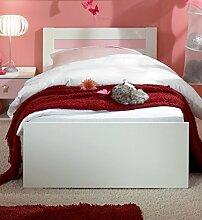 Dreams4Home Kinderbett 'Princess', Alpinweiß, rosa, Bett, Kinderzimmer, 90 x 200, Bettschubkästen, Bettkasten:mit Bettkasten