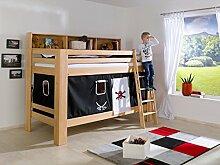 Dreams4Home Kinderbett Hochbett Etagenbett 'Eero' 90 x 200 cm Buche massiv inkl. 2 Rolllattenroste Bücherregal und Vorhang, Farbe:Pira