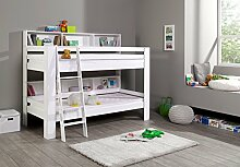 Dreams4Home Kinderbett Hochbett Etagenbett 'Risto' 90 x 200 cm Buche massiv weiß lackier