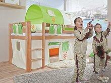 Dreams4Home Kinderbett Hochbett Spielbett 'Steens blau/rot' 90 x 200 Buche massiv natur lackiert opt mit Tunnel Vorhang Tasche, Ausführung:Bett ohne Textilse