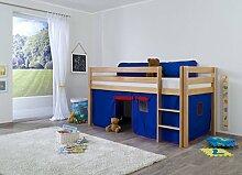 Dreams4Home Kinderbett Hochbett Spielbett 'Steens blau/rot' 90 x 200 Buche massiv natur lackiert opt mit Tunnel Vorhang Tasche, Ausführung:Bett inkl. Set (Vorhang)