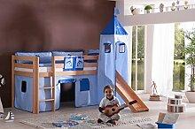 Dreams4Home Kinderbett Hochbett Spielbett Bett 'Aari Delphin' 90 x 200 cm Buche massiv natur lackiert inklusive Rutsche Turm Vorhang, Ausführung:Bett inkl. Set (Turm. Tunnel. Vorhang)