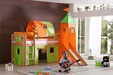 Dreams4Home Kinderbett Hochbett Spielbett Bett 'Aari grün/orange' 90 x 200 cm Buche massiv natur lackiert inklusive Rutsche Turm Vorhang, Ausführung:Bett inkl. Set (Turm. Tunnel. Vorhang)